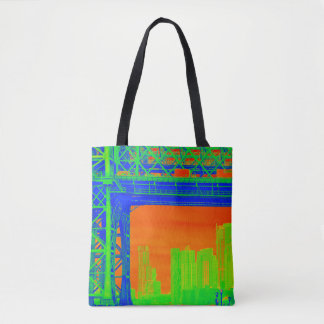 Neon New York Electric Green, Orange and Blue Tote
