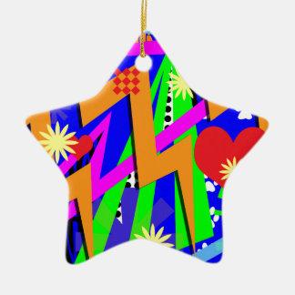Neon Nineties Pattern Christmas Ornament
