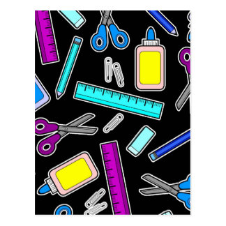 Neon on Black School Supplies Cartoon Print Postcard