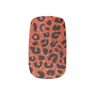 Neon orange cheetah print pattern minx nail art