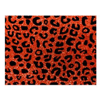 Neon orange cheetah print pattern postcard