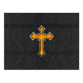 Neon Orange Cross Black Vintage Leather ImagePrint Postcard