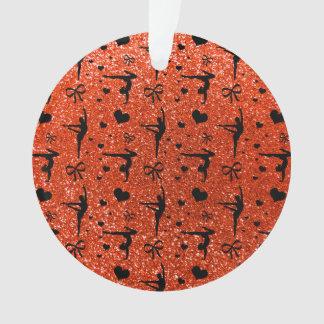 Neon orange gymnastics glitter pattern ornament