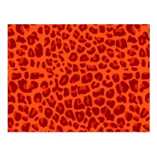 Neon orange leopard print pattern postcard