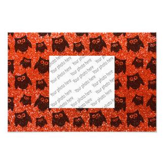 Neon orange owl glitter pattern photo print