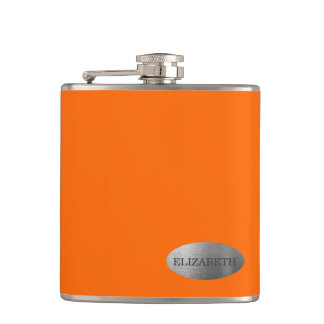 Neon Orange- Personalized Bridesmaid Hip Flask