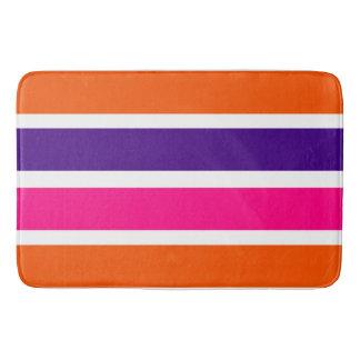 Neon Orange, Purple and Hot Pink Stripes Bath Mat