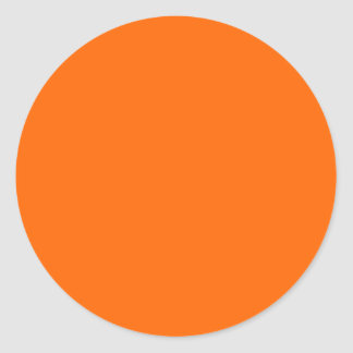 neon  orange solid color round sticker