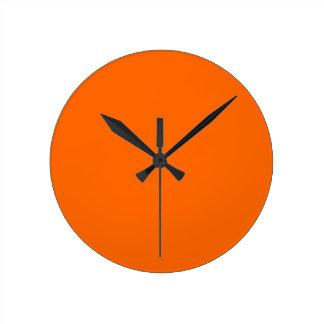 neon orange solid color round wall clocks