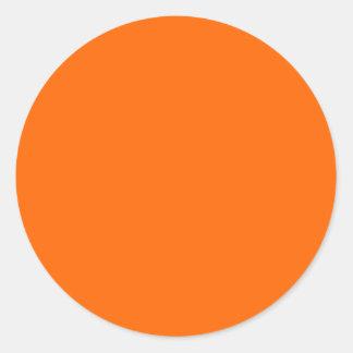 neon  orange solid color classic round sticker