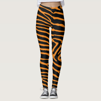 Neon Orange Tiger Striped Leggings