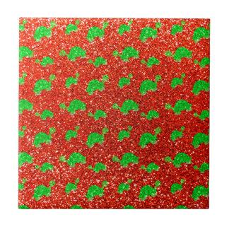 Neon orange turtle glitter pattern small square tile