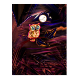Neon Owl Thunderstorm Flash Fantasia Postcard