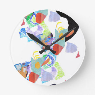 Neon paint blobs funky art round clock