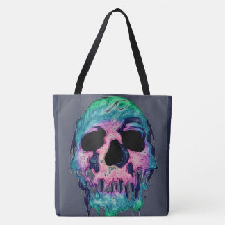 neon paint drip dark skull all over print tote bag