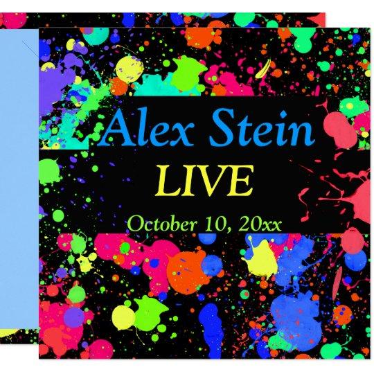 Neon Paint Splatter, Bar / Bat Mitzvah Invitation