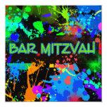 Neon Paint Splatter, Bar Mitzvah 13 Cm X 13 Cm Square Invitation Card