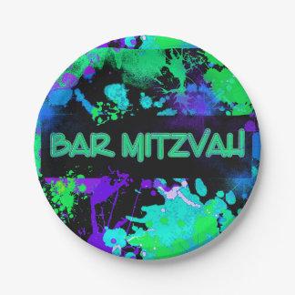 Neon, Paint Splatter, Bar Mitzvah Paper Plate
