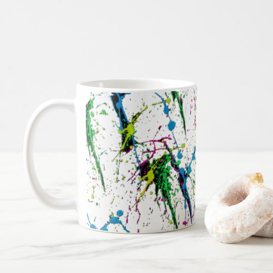 Neon Paint Splatter Coffee Mug