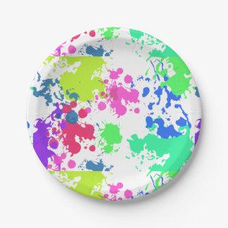 Neon Paint Splatter, Paper Plate
