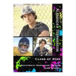 Neon Paint Splatter Photo Graduation 13 Cm X 18 Cm Invitation Card