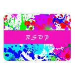 Neon Paint Splatter, Response Card 9 Cm X 13 Cm Invitation Card