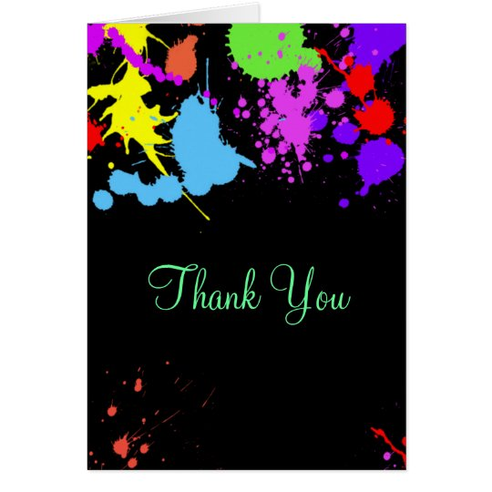 Neon Paint Splatter, Thank You, Custom Card