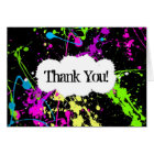 Neon Paint Splatter Thank You or Note Card