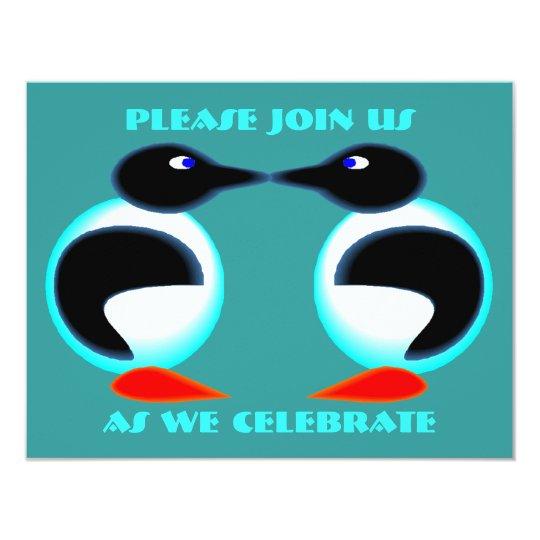NEON PAIR PENGUINS ANNIVERSARY PARTY INVITATION