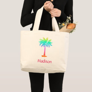 neon palm tree tropical summer bright customizable large tote bag
