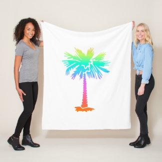 neon palm tree tropical summer colorful fleece blanket