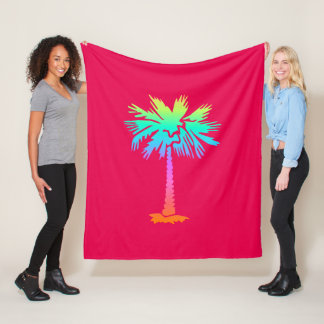 neon palm tropical summer bright colorful pink fleece blanket