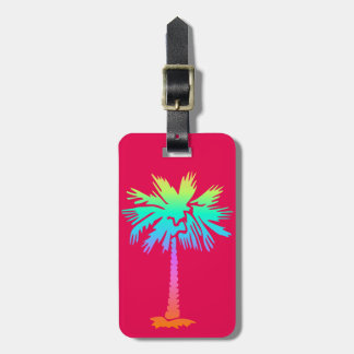 neon palm tropical summer bright colorful pink luggage tag