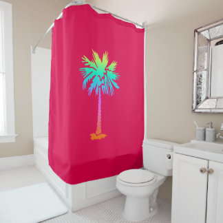 neon palm tropical summer bright colorful pink shower curtain