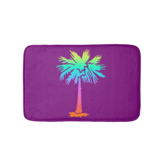 neon palm tropical summer bright colorful purple bath mat