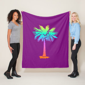 neon palm tropical summer bright colorful purple fleece blanket
