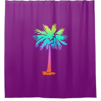 neon palm tropical summer bright colorful purple shower curtain