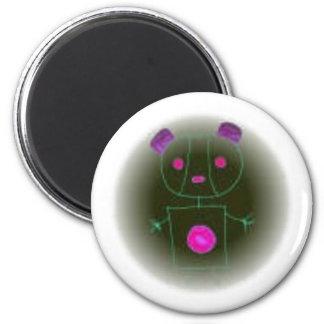 neon panda 6 cm round magnet