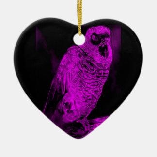 Neon Parrot Ceramic Heart Decoration