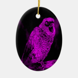 Neon Parrot Ceramic Oval Decoration