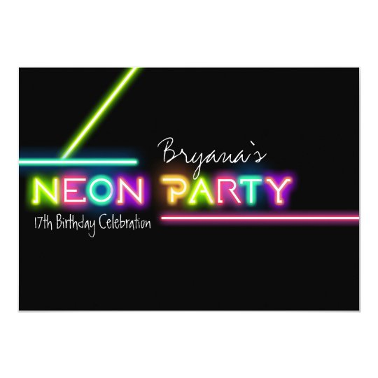 NEON PARTY Glow Fun Birthday Party Invitation