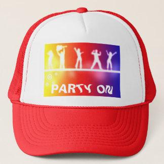 neon party trucker hat