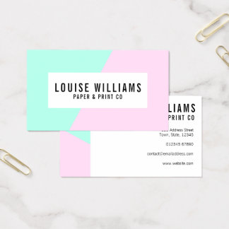 Neon pastel lilac and mint business card