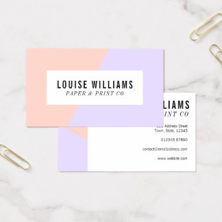 Neon pastel lilac and peach business card