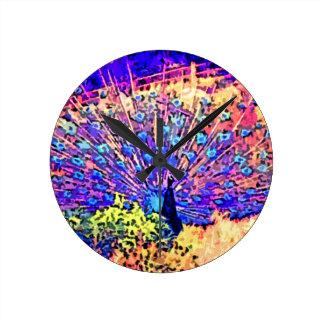 Neon Peacock Round Clock