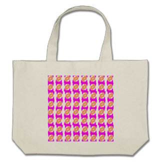 Neon pink and apricot pattern go green bag