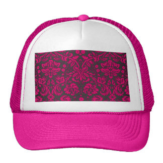 Neon Pink and Black Damask Hats