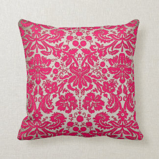 Neon Pink and Gold Damask Cushion