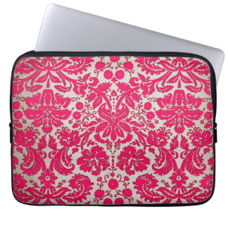 Neon Pink and Gold Damask Computer Sleeve