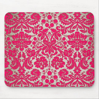 Neon Pink and Gold Damask Mouse Mat